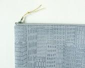 Zipper pouch - skyscrapers on gray