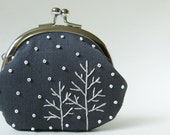 Trees in snow coin purse