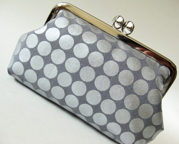 kiss lock purse clasp purse silver dots on gray steel gray metallic aluminium pewter polka dot modern geometric circle simple frame purse