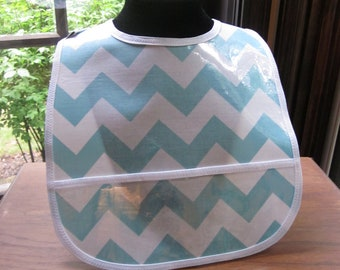 WATERPROOF WIPEABLE Baby to Toddler Wipeable Plastic Coated Bib Light Blue and White Chevron