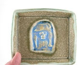 Trinket dish with Pirate Skeleton in moss and blue - perfect for hostess gift