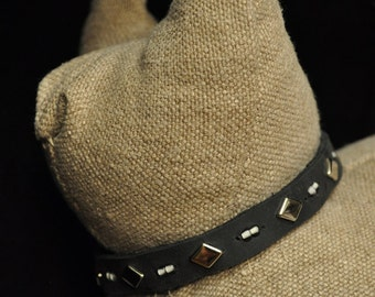 Black Leather Cat Collar with 5 Metal Studs with Glow-in-the-Dark Beads (The Skyler)