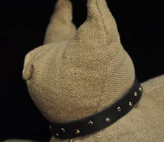 Black Leather Cat Collar with Little Silver Metal Stars (The Lucy)