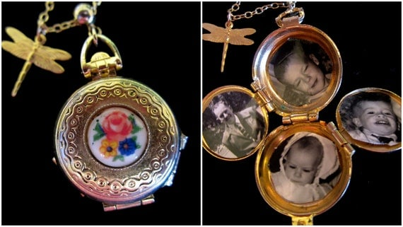 Oh My, A Dragonfly - Vintage 4 Picture Locket Necklace
