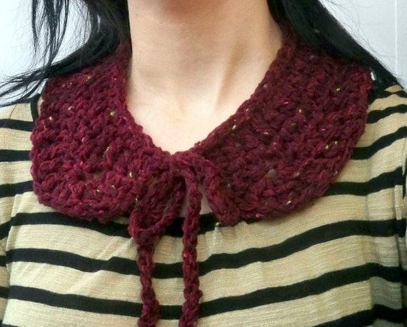Maroon Knit Collar Necklace - Round Collar Hand Crochet from Recycled Tweed Wool Yarn - Burgundy Dark Deep Red Handmade Accessory
