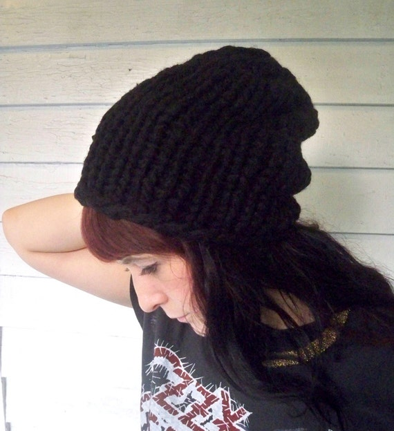 Reserved for spencer87britt - black chunky knit beanie - thick oversized wool toboggan hat