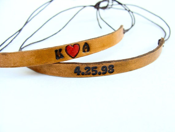Leather Bracelet Special Initials and Date Custom Adjustable