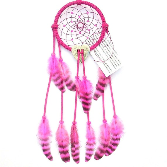 Bright Pink Dream Catcher, Barred Hen Feathers