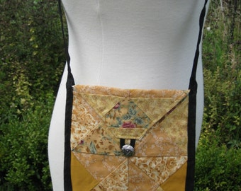 Old Gold Cotton Patchwork Purse