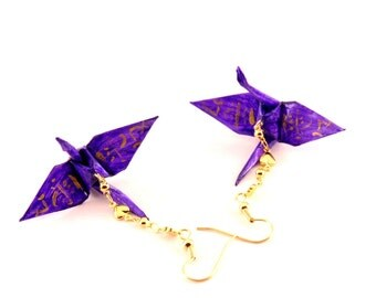 Hearts and Love Origami Crane Earrings, Love Kanji on Grape Purple Jewelry