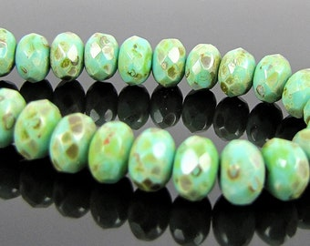 CLOSEOUT SALE for Czech Glass Faceted Gemstone Donut-Turquoise Full Coat Picasso-7x5mm-25 Beads