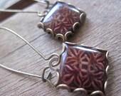 Reddish brown earrings, Church tile earrings, Scottish jewelry, Drop earrings, Fall fashion, miniature tile, Baroque jewelry