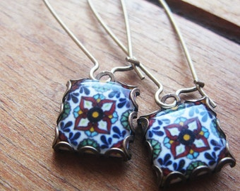 Mexican jewelry, Mexican Talavera tile drop earrings, Southwestern style, Native American jewelry, Talavera