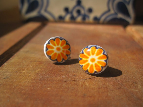 Mexican Talavera Post Earrings, Spanish ceramic decorative tile pattern, Dia de los Muertos fun, yellow orange marigold, Mexican jewelry