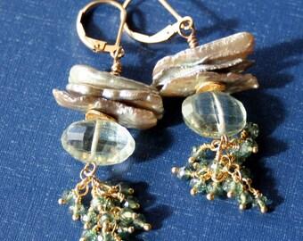 Green Amethyst and Pearl Earrings, Prasiolite and Pearl Earrings, Gemstone Earrings, Leverback Earrings, Made in Montana Earrings