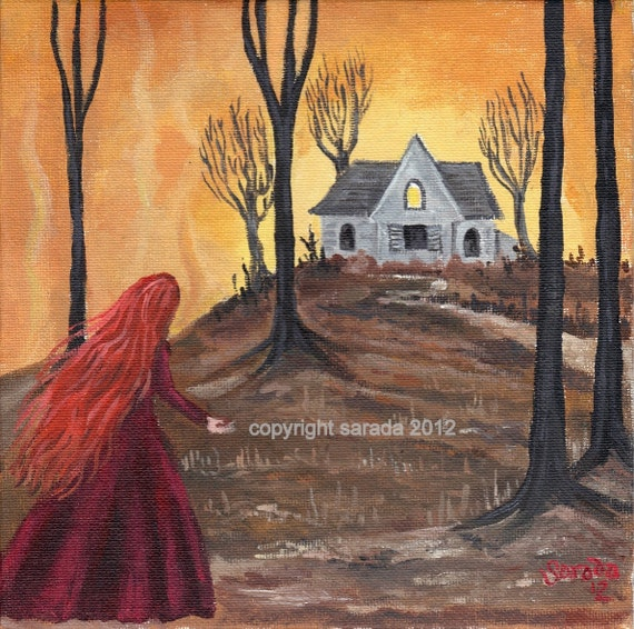 Haunted House, spooky autumn Halloween art 8 x 8 print redhead gothic woods brown gold forest woodland art eerie spooky ghost horror