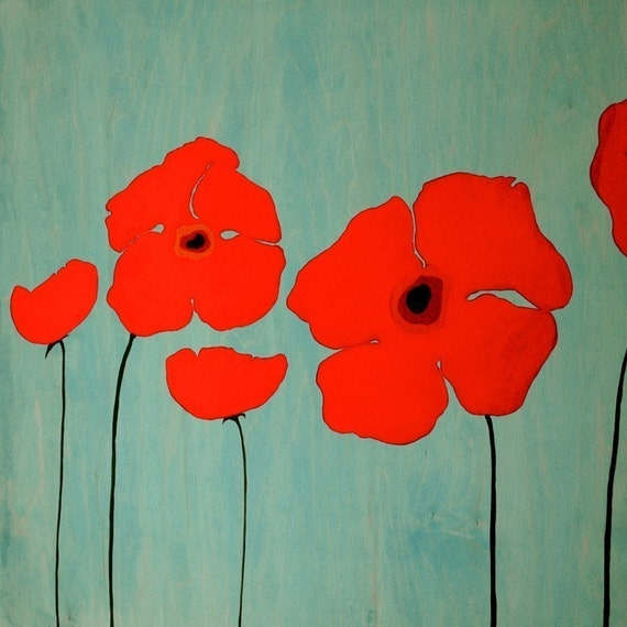 Signed Large Art Print Poppies