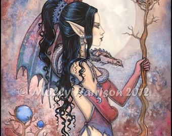 Dragon Girl - Orignial Fantasy Art Giclee Print by Molly Harrison 8 x 10