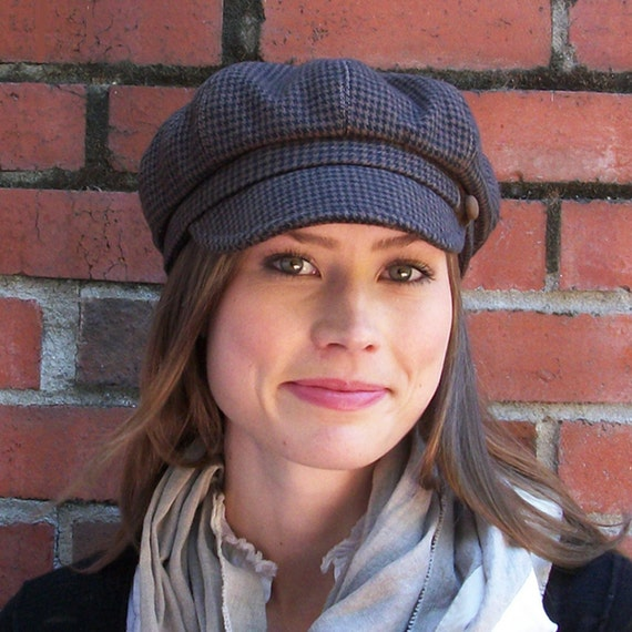 Hannah Womens Hat - Newsboy Cap - Brown and Black Cotton Houndstooth