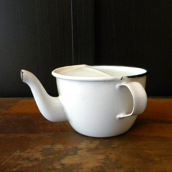 Vintage enamel milk pot French country decor