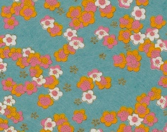 Chiyogami or yuzen paper - pink and orange cherry blossoms on an aqua background with gold plum blossom accents, 9x12 inches