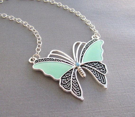 Silver and Mint Epoxy Butterfly Necklace