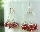 Really Red Circle Cluster Earrings - Red Coral with Sterling Silver