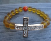 Rose Gold Crystal Cross and Sea Glass Bracelet