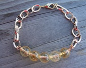 Faceted Citrine Gemstones Rose Gold Chain Bracelet