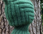 Knit Child Balaclava Hoodie Hat - GREEN Elf, Waldorf inspired, also available in BLUE