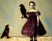 The Raven's Wing original mixed media  nostalgic portrait painting