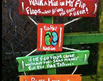 RhondaK Original 4 part sign with 4 sayings flip flop sign custom available