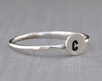 Silver Initial Ring , Teeny Tiny Sterling Silver Ring , Custom Jewelry