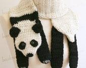 Digital PDF Crochet Pattern for Panda Bear Scarf - DIY Fashion Tutorial - Instant Download - ENGLISH only