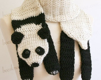 Digital PDF Crochet Pattern for Panda Bear Scarf - DIY Fashion Tutorial - Instant Download - ENGLISH only