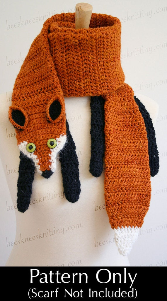 Digital PDF Crochet Pattern for Fox Scarf - DIY Fashion Tutorial - Instant Download - ENGLISH only
