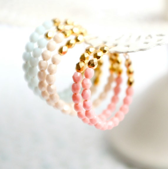 Pastel and Gold Beaded Gold Filled Hoops- choose one