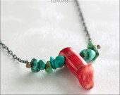 Oxidized Sterling Silver Necklace With Red Coral & Turquoise - Jewelry by Jason Stroud