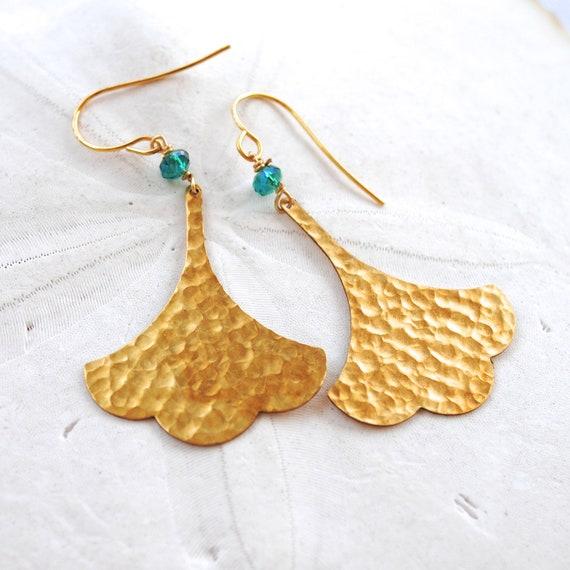 SALE!! - Ginkgo Leaf Earrings. Teal Glass Bead. Hammered Brass.