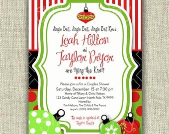 Christmas Bridal Shower Invitation Invite Holiday Open House Retro Digital -  by girls at play Etsy girlsatplay