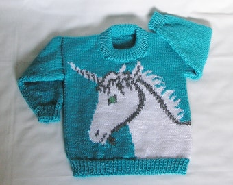 Kids Unicorn Sweater MADE TO ORDER Toddler Jumper Unicorn Hand Knitted. Custom Color & Size
