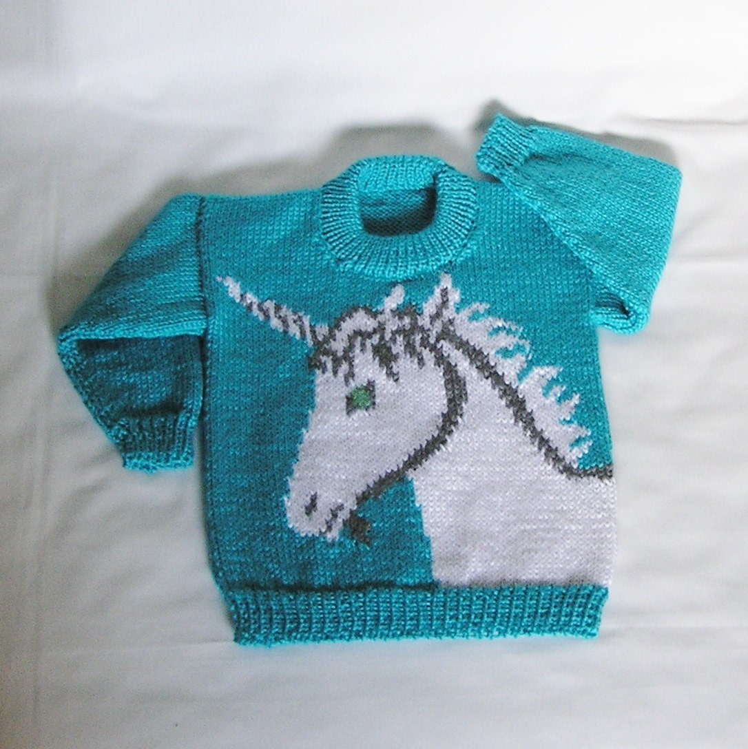 Unicorn Jumper Knitting Pattern : Kids unicorn sweater made to order toddler jumper hand