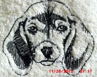 Beagle Wipe My Paws White  Bath Hand Towel
