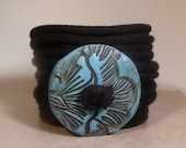 Wrap Bracelet - Blue Floral Design- Button Clasp - Fabric Wrap - Easy Wear
