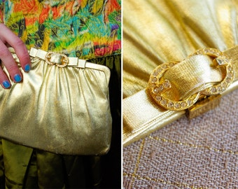 Rhinestones and GOLD 1950's 60's Vintage Metallic Handbag Purse with Bow and Jeweled Clasp by HL