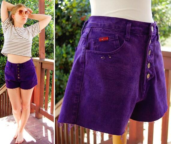 GRAPE 1990's Vintage High Waist Grunge Bright Jewel Purple Shorts by Golden Star size Medium