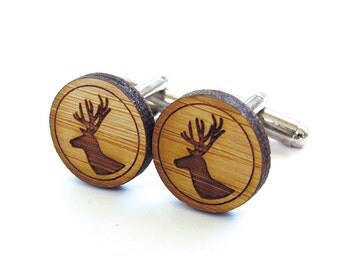 Deer Cufflinks. Stag Cufflinks. Wood Cufflinks. Stag Head. Deer Head. Groomsmen Gift. Groom Gift. Gift For Men. Mens Gift. Gifts For Dad.
