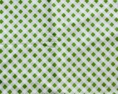 SALE - Vintage Sheet Fat Quarter -  Green Bias Gingham