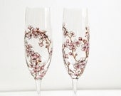 Glass Champagne Flutes, Set of 2 - Cherry Blossoms Collection
