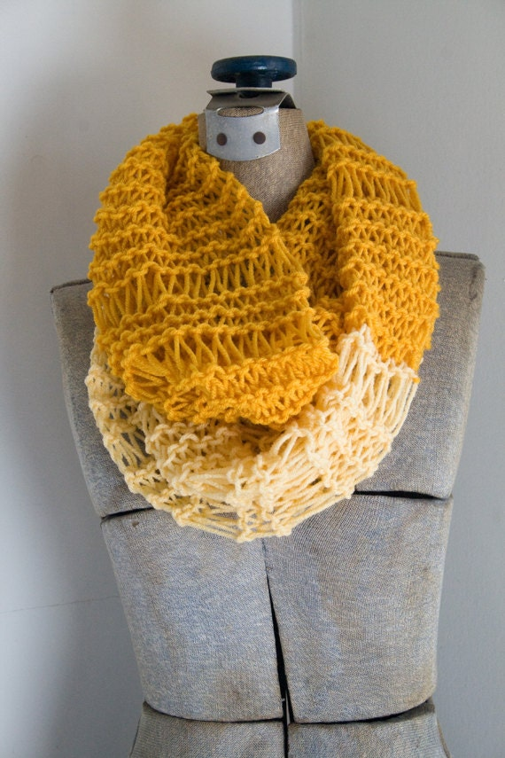 Knit Circle Infinity Scarf in Buttercup Yellow & Mustard - drop stitch, cowl, open stitch, loop